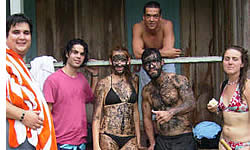 At the cabin after a mud bath at the Hot Springs in Caldera